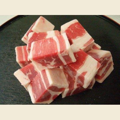 画像1: アメリカ産 牛バラ 角切り 1kg