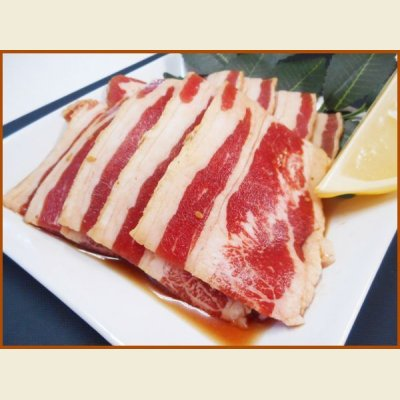 画像1: 自社製 味付牛カルビ(醤油味) 1kg